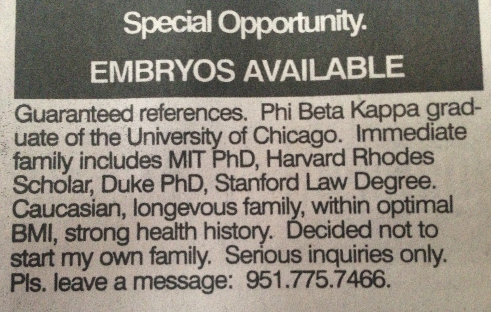 Embryos with a pedigree